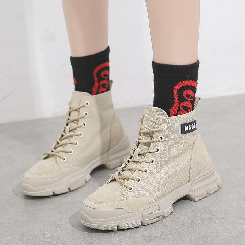 春季新款马丁靴女鞋新款英伦风帅气百搭高帮短靴子女鞋学生鞋