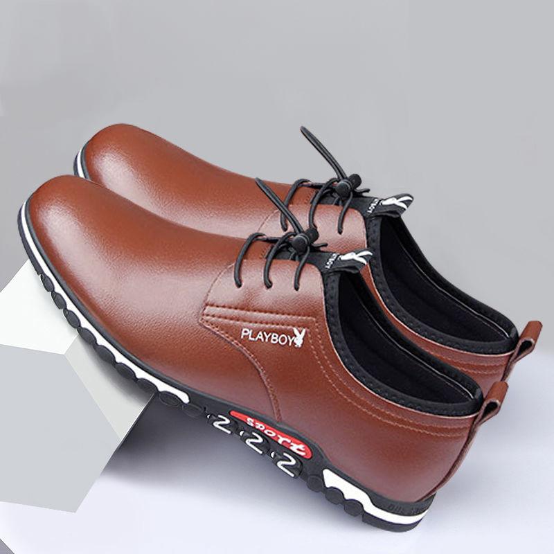 男鞋春季休闲皮鞋男隐形内增高夏季透气镂空皮凉鞋洞洞鞋