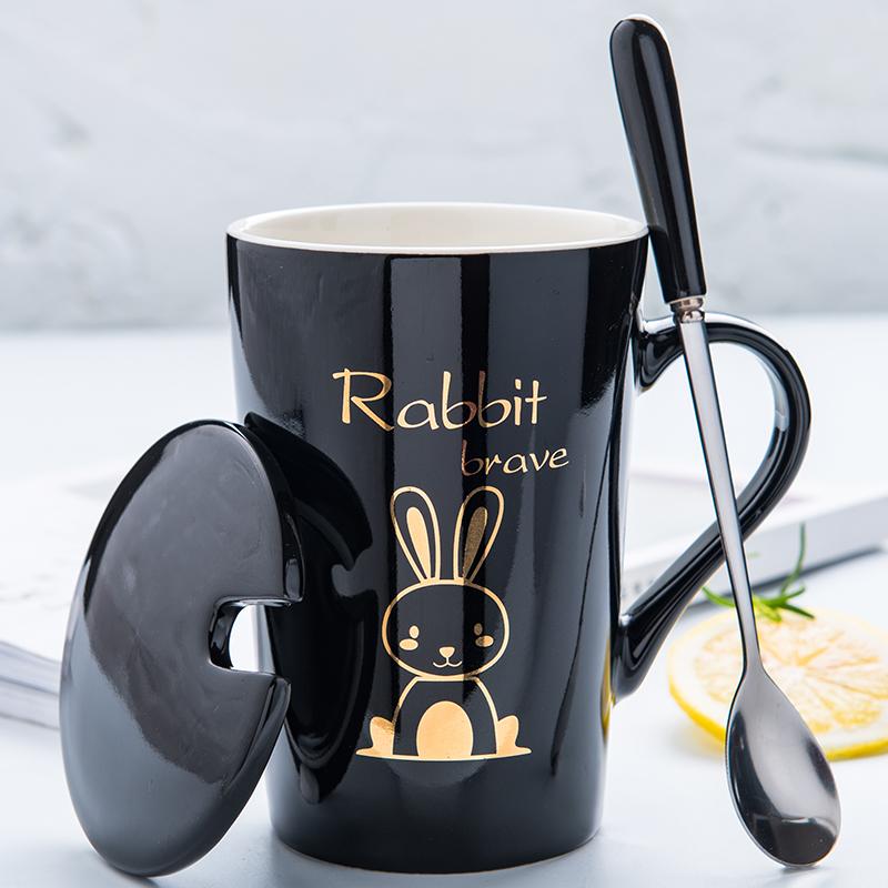 创意个性水杯子可爱陶瓷马克杯带盖勺潮流情侣男女家用牛奶咖啡杯