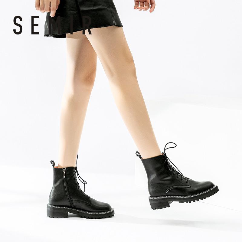 马丁靴女英伦风春秋单靴ins潮2020年秋季新款真皮中筒靴瘦瘦短靴