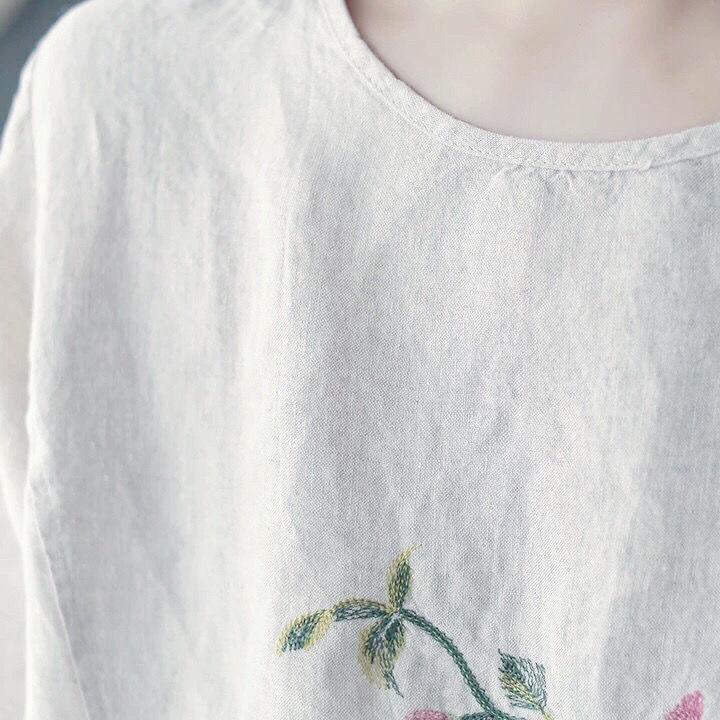 恤夏季新款文艺复古宽松百搭圆领五分袖 T 民族风纯棉桃花刺绣