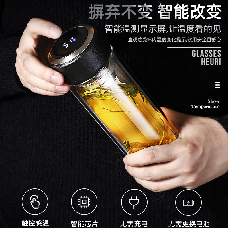 双层玻璃杯男带盖隔热水杯女大容量茶水分离泡茶杯子个人专用定制主图