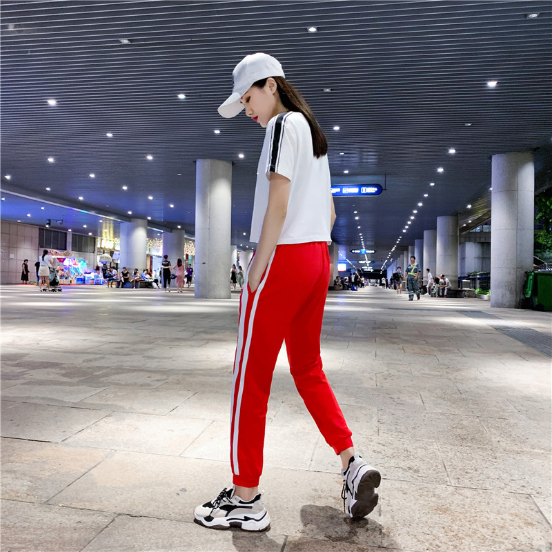 男女纯棉演出服舞蹈表演服装套装广场舞运动跑步服饰棉质夏季新款