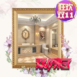 影楼边框镜子镜框金色实木台式实用浴室美容院悬挂壁挂挂墙式一体