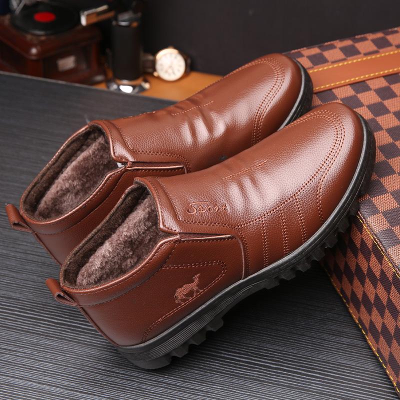 棉鞋男冬季休闲高帮男棉皮鞋中老年保暖加绒爸爸鞋防滑厚底休闲鞋