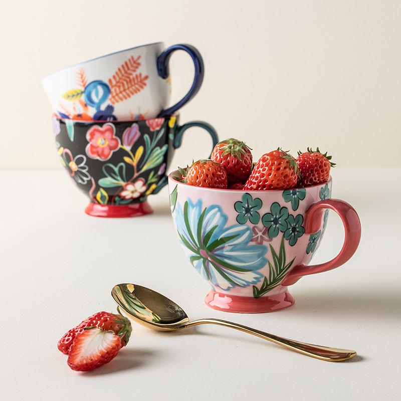 釉下彩工藝,微波爐可用:450ml ALANIZ 北歐手繪陶瓷馬克杯