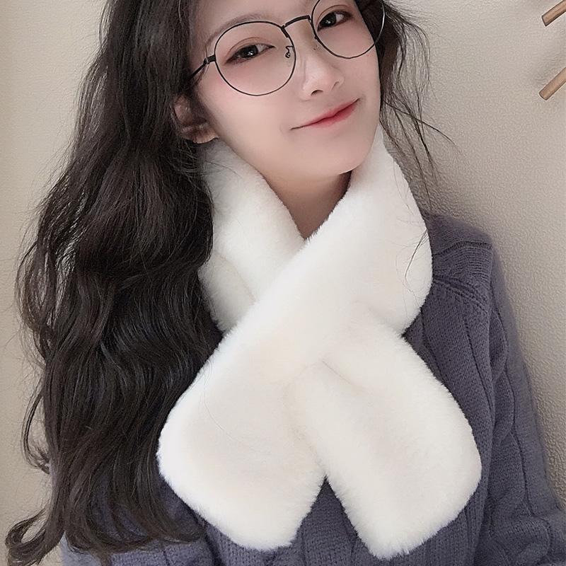 潘三帅韩版围巾女春秋季仿真丝学生可爱毛绒围脖装饰丝巾百搭少女