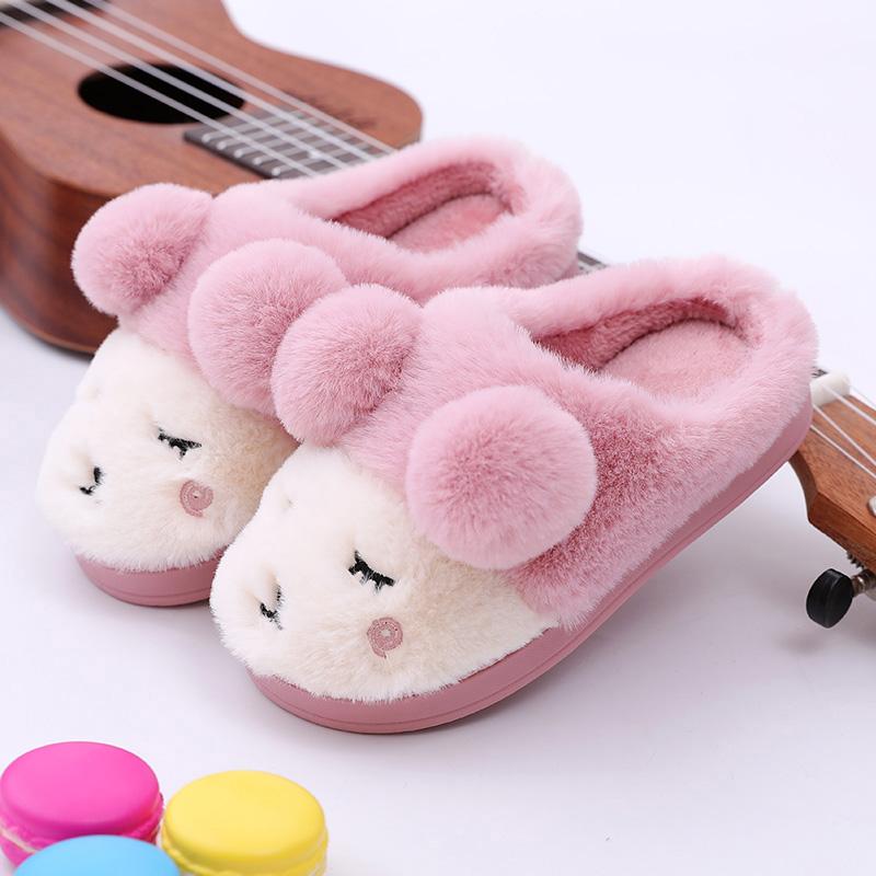儿童棉拖鞋秋冬季小孩保暖男女童室内防滑可爱1-3岁2亲子宝宝拖鞋