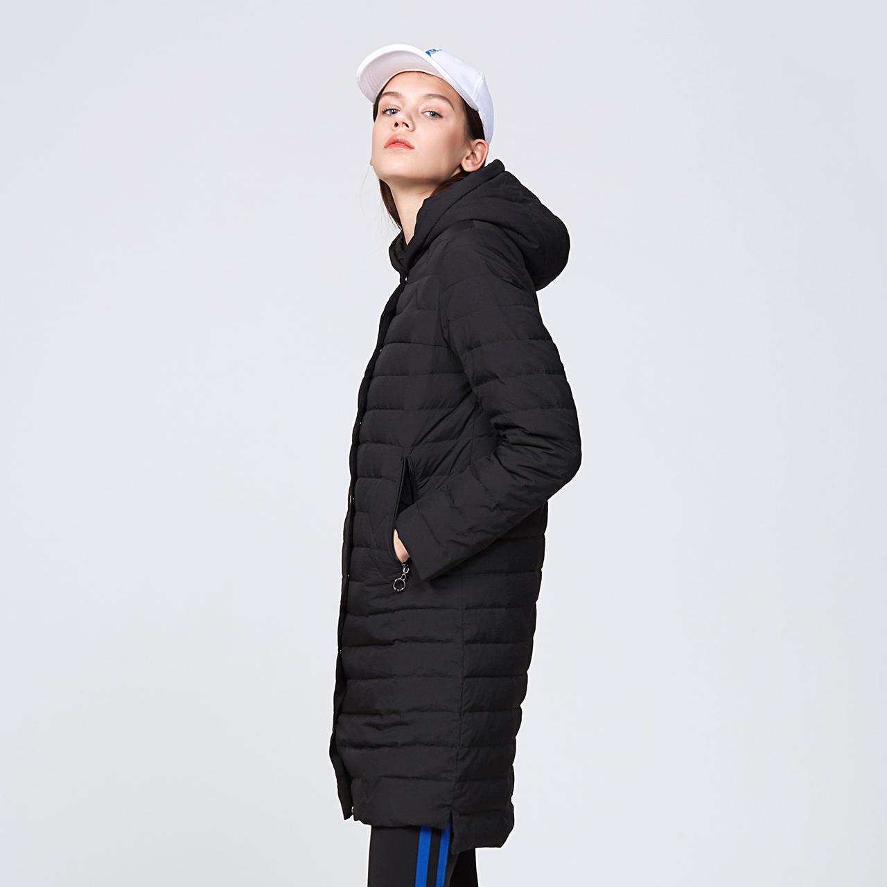 雪中飞 轻薄羽绒服女中长款韩版时尚收腰连帽纯色外套  outlets