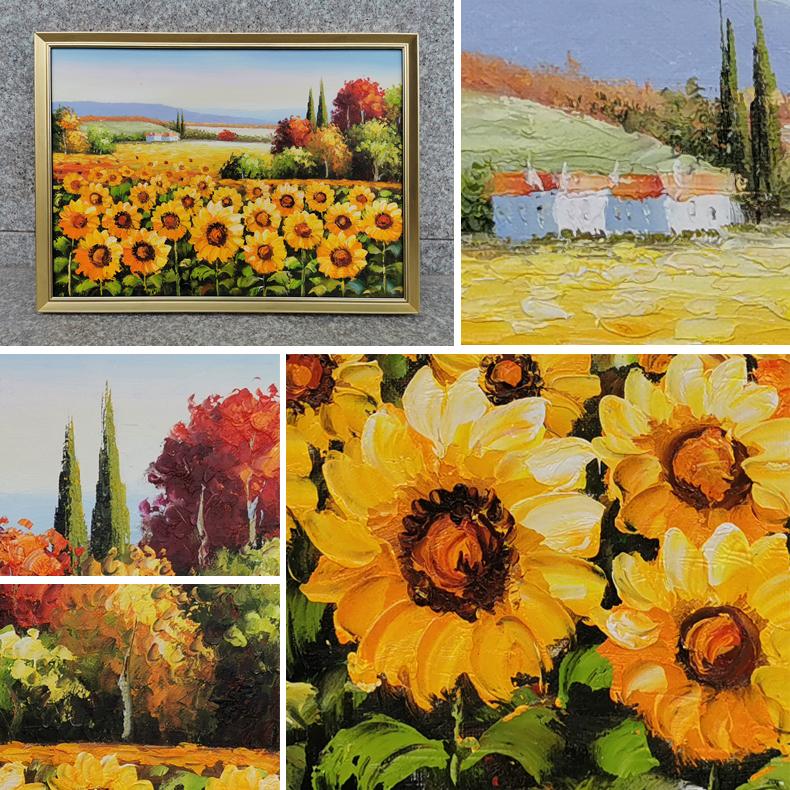 輕奢現代純手繪油畫印象厚油花田風景畫客廳裝飾畫向日葵玄關掛畫
