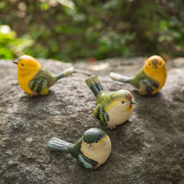 Garden courtyard decoration simulation bird decoration resin animal crafts fake bird living room desktop home gardening