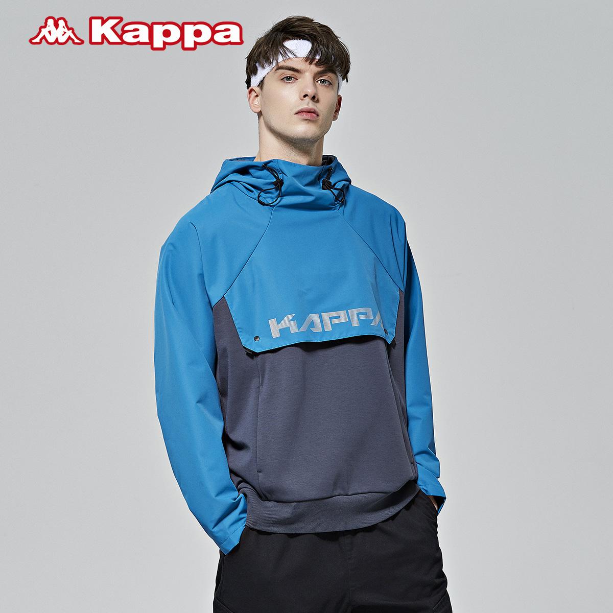 卡帕男串标防风衣休闲梭织外套拼接连帽长袖上衣新款 Kappa