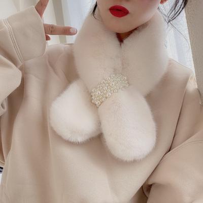 网红珍珠围巾女冬季加厚保暖毛绒仿兔毛韩版学生百搭日系围脖女款