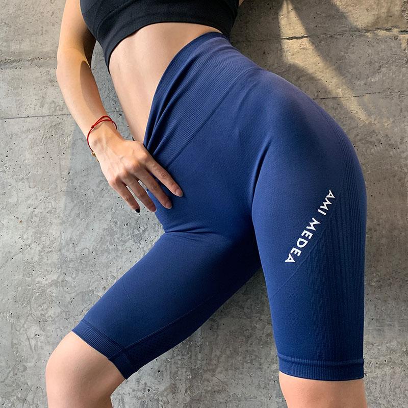 高腰弹力运动五分裤显瘦速干健身裤女跑步提臀收腹瑜伽打底中裤