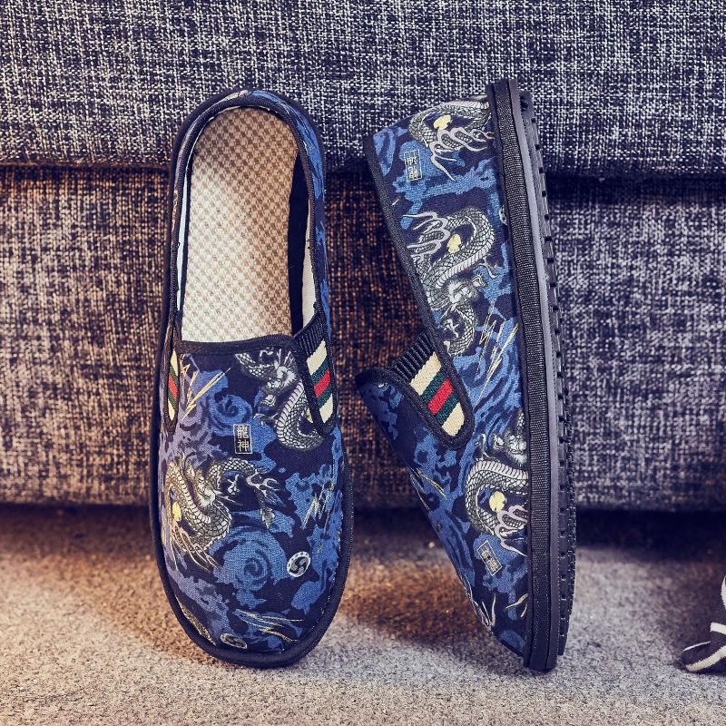 老北京布鞋男鞋子男潮鞋一脚蹬西山豆豆鞋男社会休闲潮流社会男鞋