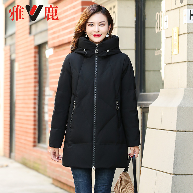 年新款时尚休闲韩版宽松连帽加厚保暖外套 2020 雅鹿羽绒服女中长款