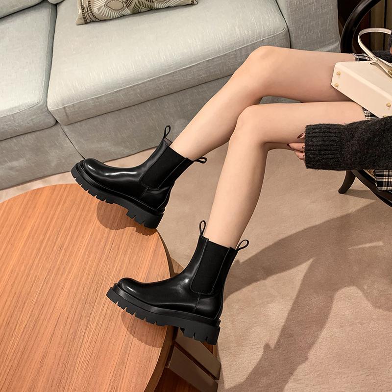 mona同款马丁靴女英伦风短靴2020秋冬新款厚底切尔西靴中筒烟筒靴