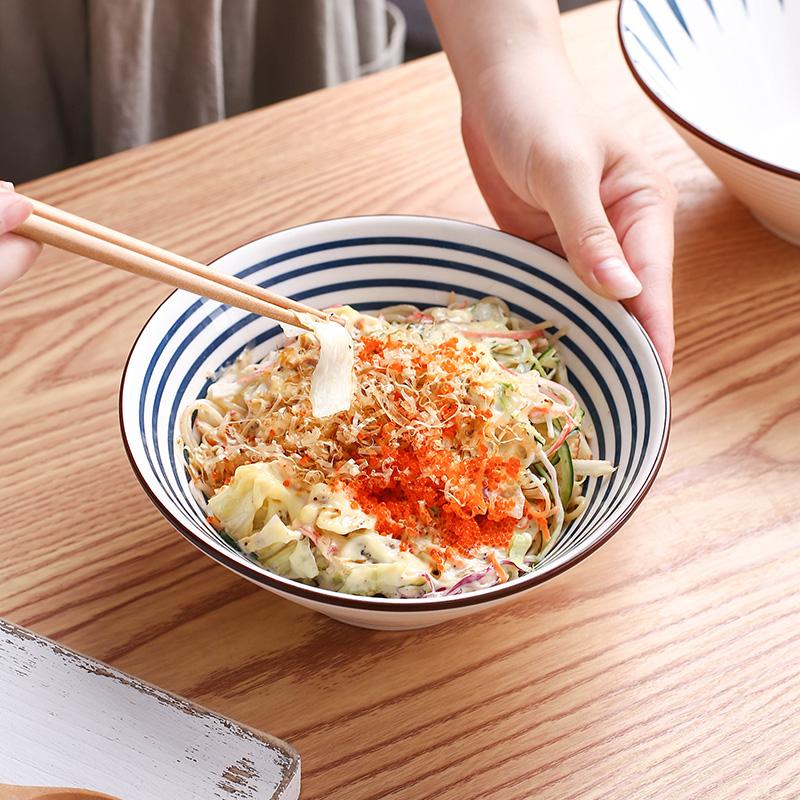 日式拉面碗家用创意斗笠碗饭碗沙拉碗吃泡面陶瓷碗网红餐具浓汤碗主图