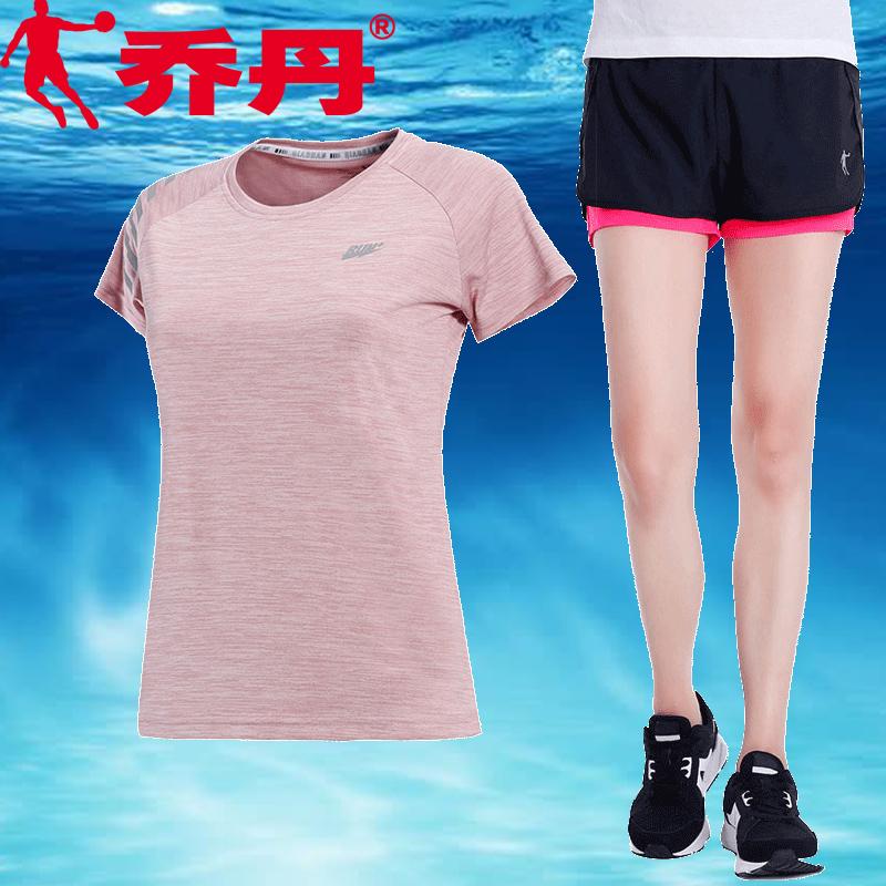 乔丹运动套装女2019夏季新款跑步速干透气运动服短袖短裤两件套女