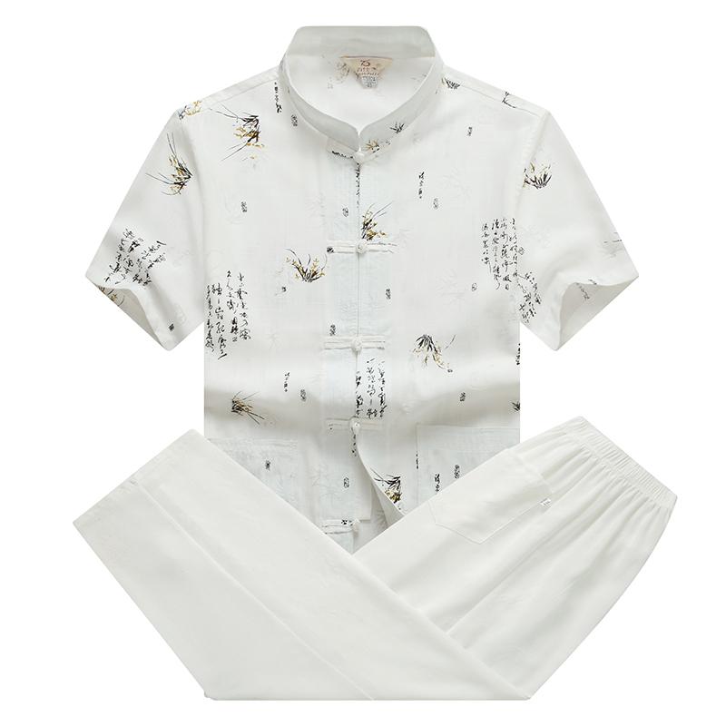唐装男中老年爸爸装夏装男士老年人衣服爷爷棉麻中国风短袖套装