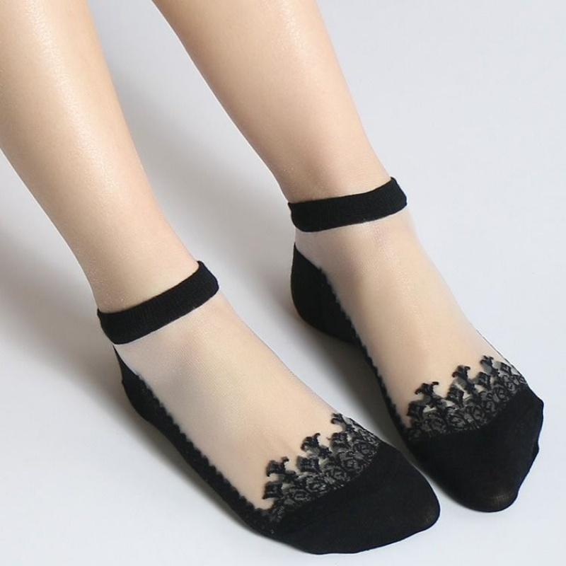 5 袜子女船袜夏季薄款棉袜水晶玻璃丝袜棉底丝袜韩版浅口短袜  双装