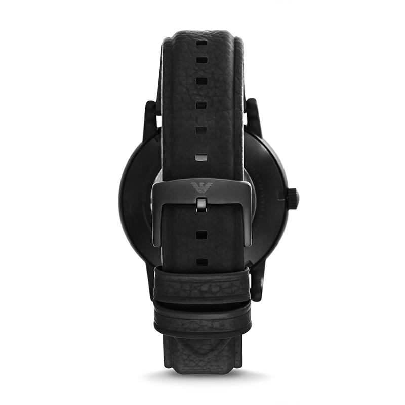 阿玛尼手表机械表男 皮质表带全自动机械镂空男士休闲腕表AR60032