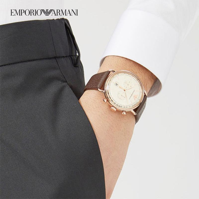 阿玛尼男士手表 飞行员系列新款欧美时尚石英防水皮带男表AR11106