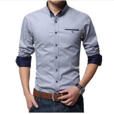 春夏秋季白衬衫男士长袖修身工装商务韩版潮流衬衣职业正装黑寸衫