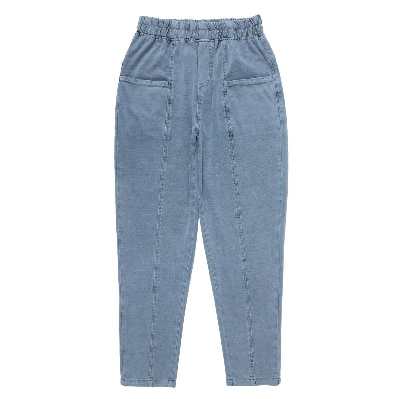 妈妈时尚牛仔裤中老年女裤女装夏季薄款中年人萝卜裤女休闲哈伦裤