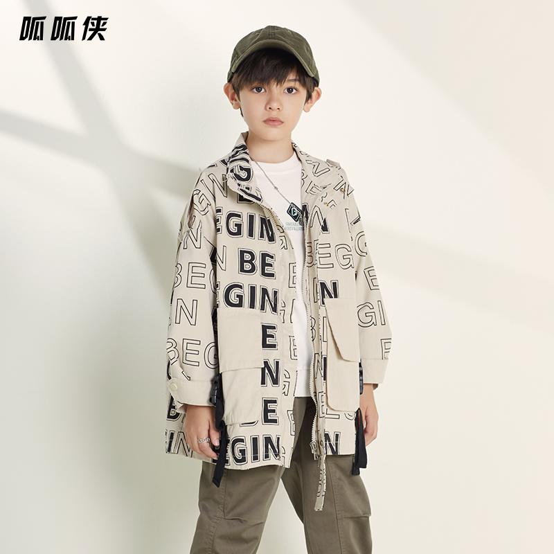 男童风衣外套洋气2020春秋中大儿童装韩版夹克宽松休闲中长新款潮