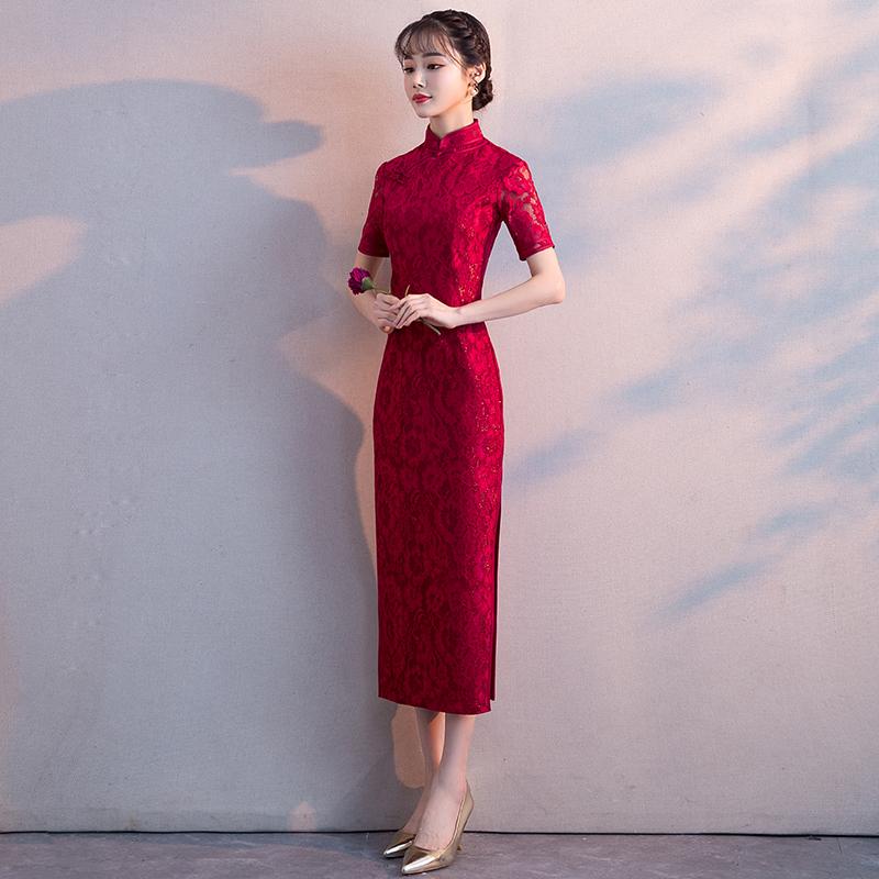 中式新娘敬酒服2019新款红色中长款修身显瘦结婚旗袍礼服裙女秋冬