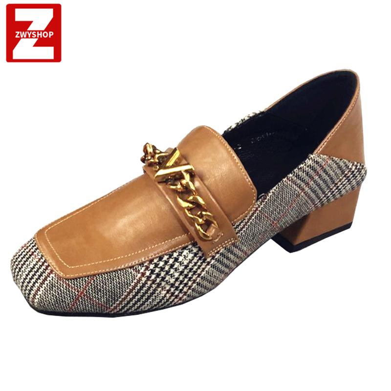 紫文洋2019新款女鞋单鞋名媛格子方头黑鞋粗跟软皮工作鞋玛丽珍鞋