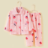 Autumn and winter children flannel warm pajamas children thick coral fleece home clothes boys girls baby suits