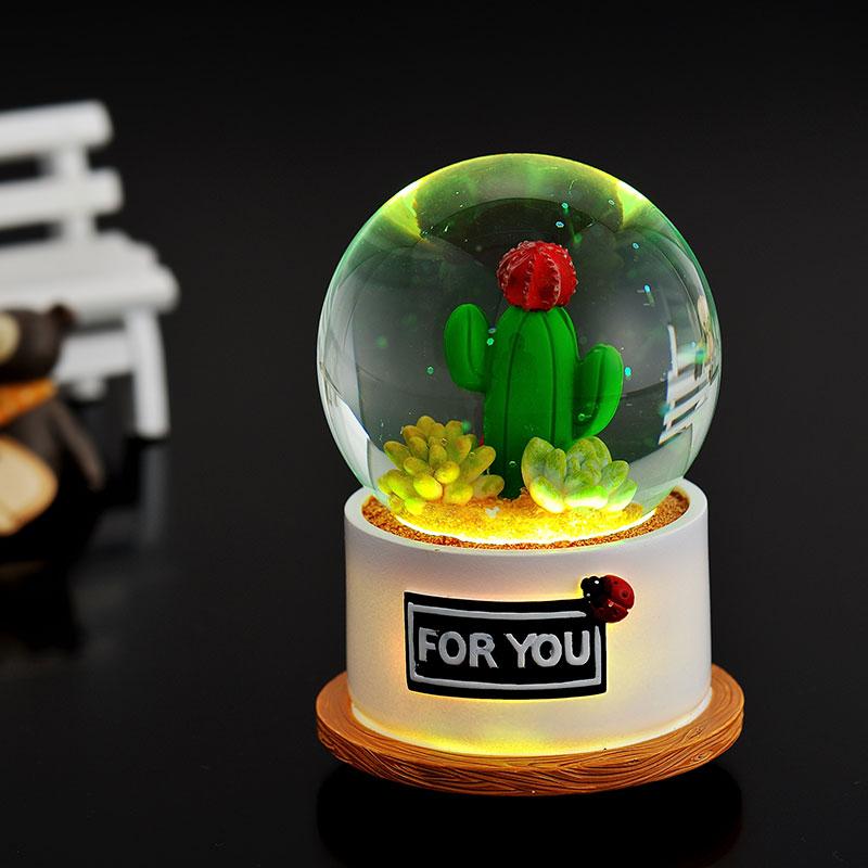 发光水晶球音乐盒八音盒送男女生闺蜜浪漫创意儿童小朋友生日礼物