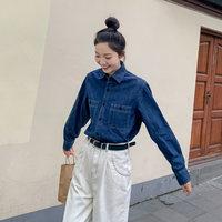 郭九九呢牛仔衬衫女设计感小众秋冬款百搭蓝色2019长袖衬衣上衣 (¥139)