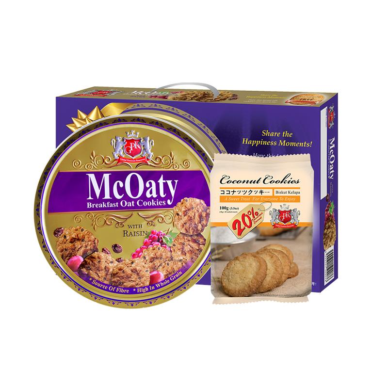 马来西亚进口GPR红糖葡萄干燕麦金冠曲奇饼干礼盒装伴手礼零食