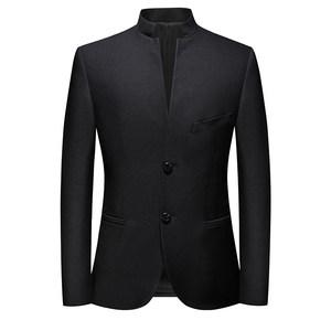 骄柒牌立领西装男弹力修身中国风中式西服中山装单件上衣外套