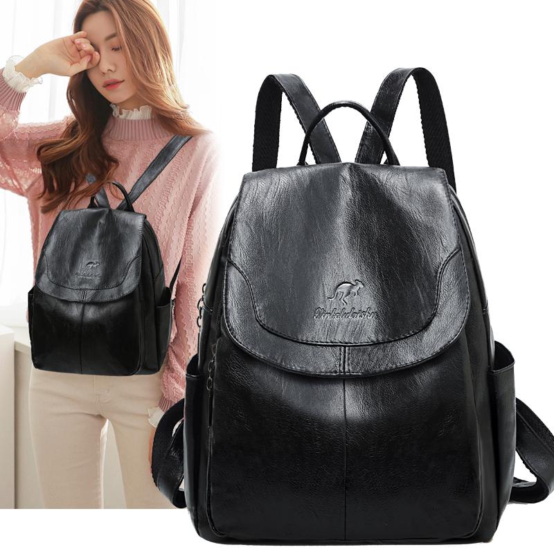 真皮质感双肩包女包包大容量书包软皮旅行包电脑包防水包D20