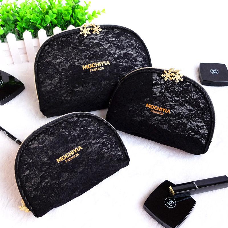 化妝包口紅收納少女黑色手拿袋韓國簡約旅行行動式大小號容量透明