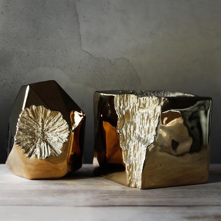 九土现代花瓶简约时尚北欧风格装饰品创意陶瓷工艺雕刻纹家居摆件