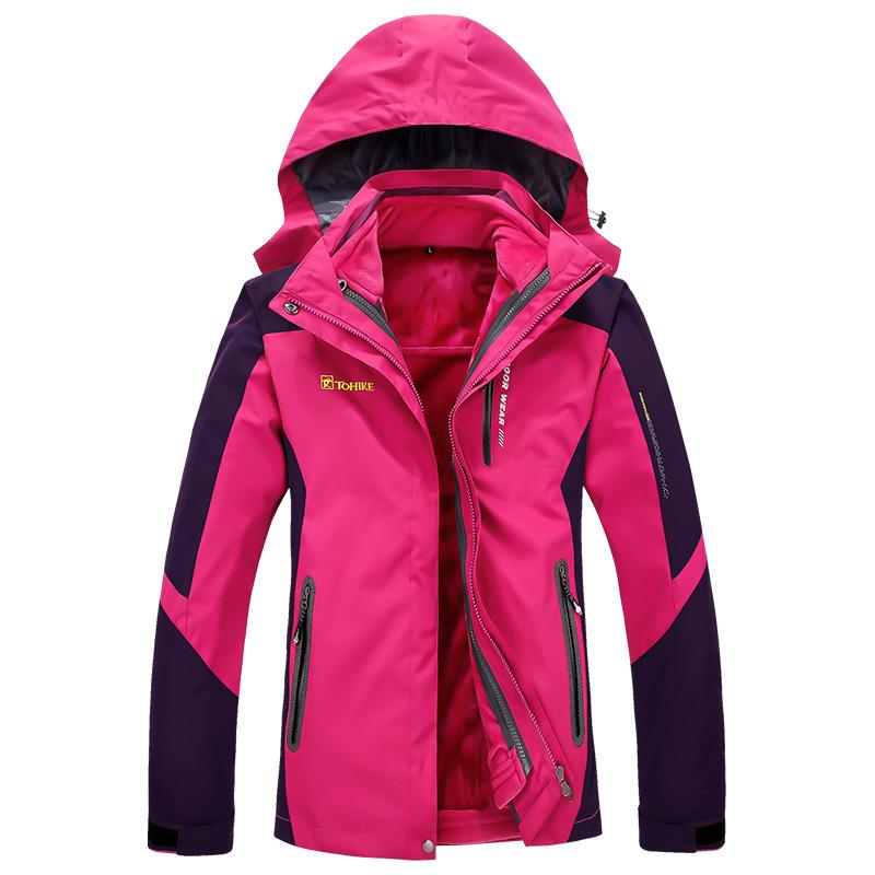 探步者户外冲锋衣男女两件套加绒加厚保暖防水透气三合一登山服
