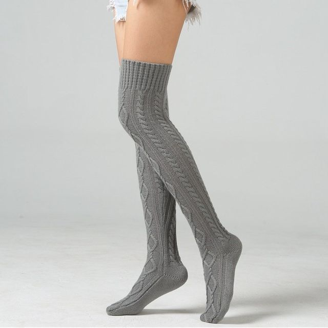 Stockings knee-toe foot warmer indoor home knitted wool autumn and winter double diamond protection socks floor pattern
