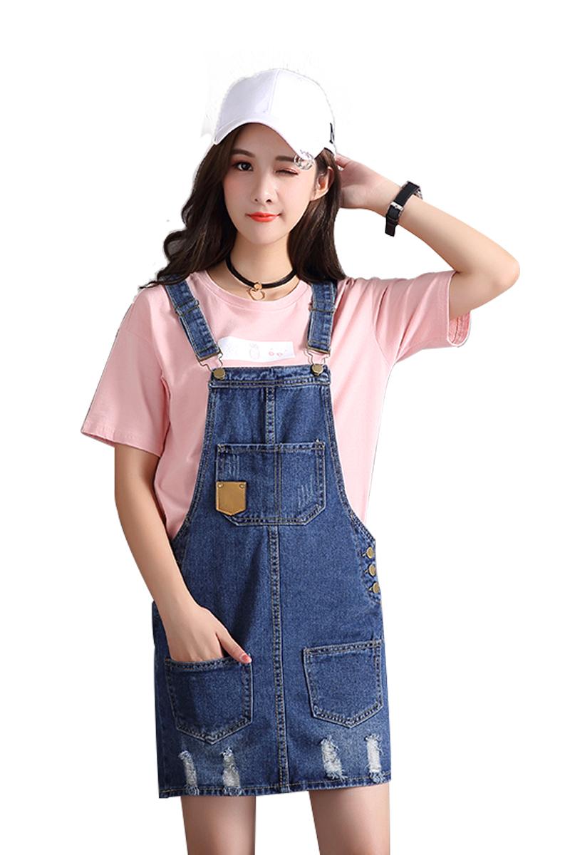 【佰草姿美】 网红韩版时尚吊带牛仔裤女