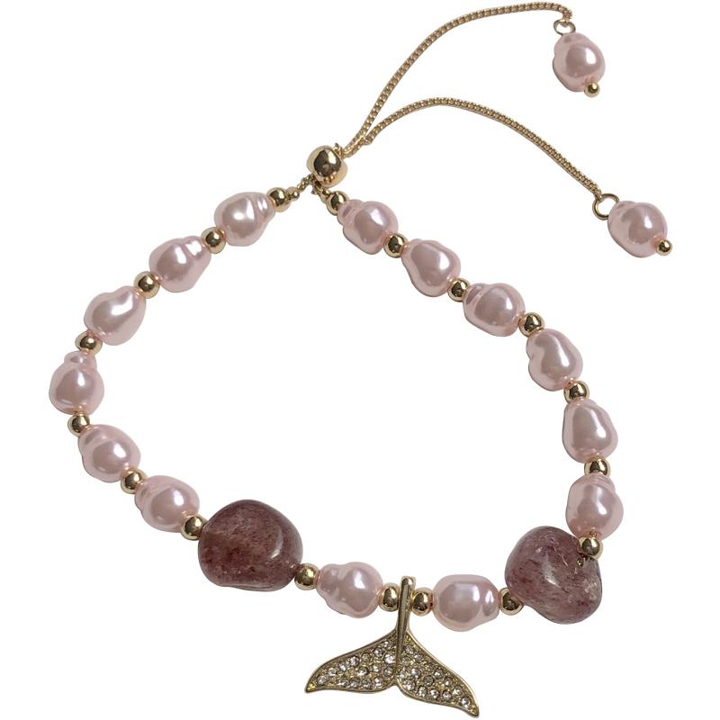1481 超仙鱼尾少女心手链法式浪漫粉色手饰不规则珍珠镶钻手镯闺蜜
