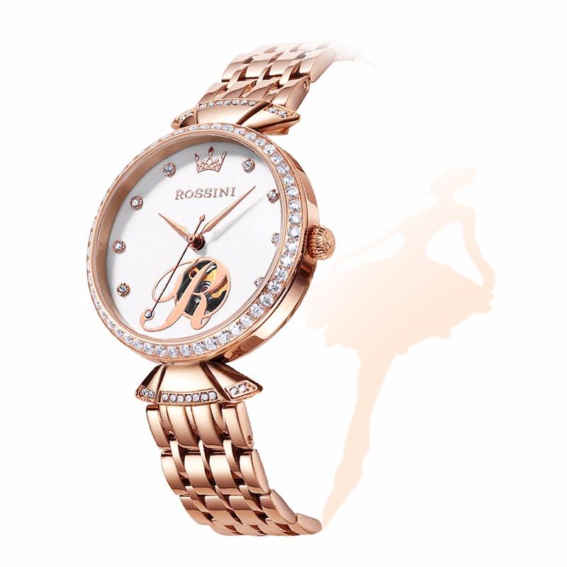 罗西尼手表女士全自动机械表防水镂空镶钻钢带圣诞节礼物送女朋友
