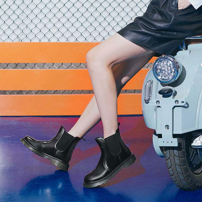 七面女鞋2019秋款鞋头层皮粗跟短靴时尚大底女靴