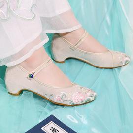 必川老北京布鞋女时尚款配汉服旗袍中国风增高古风鞋中跟绣花鞋子