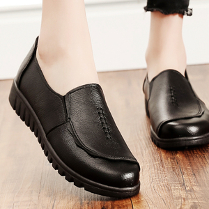 秋季妈妈鞋真皮软底舒适单鞋中老年人女鞋奶奶鞋防滑平底皮鞋黑色