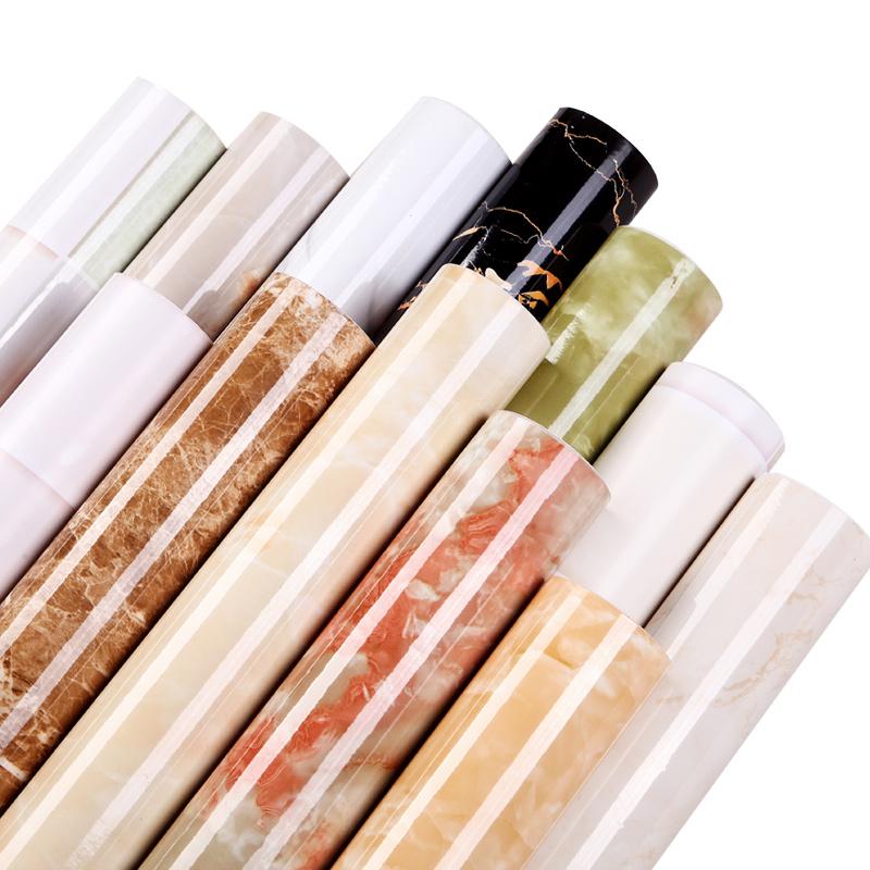 加厚防水防潮可擦洗大理石紋廚房櫥柜桌子臺面家具翻新墻紙壁紙