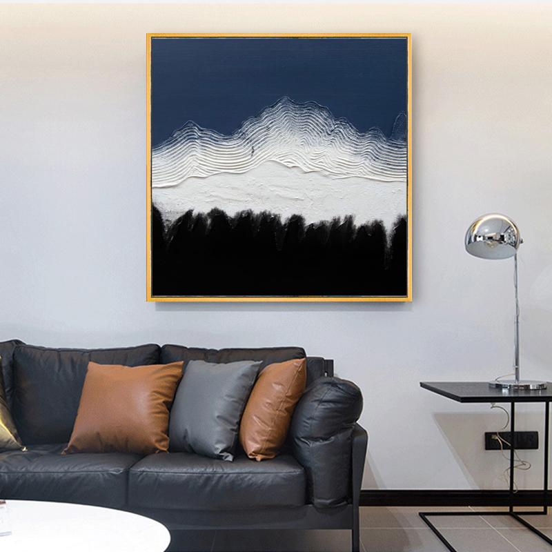純手繪油畫創意雪山客廳抽象裝飾畫餐廳玄關豎掛畫純色厚肌理壁畫